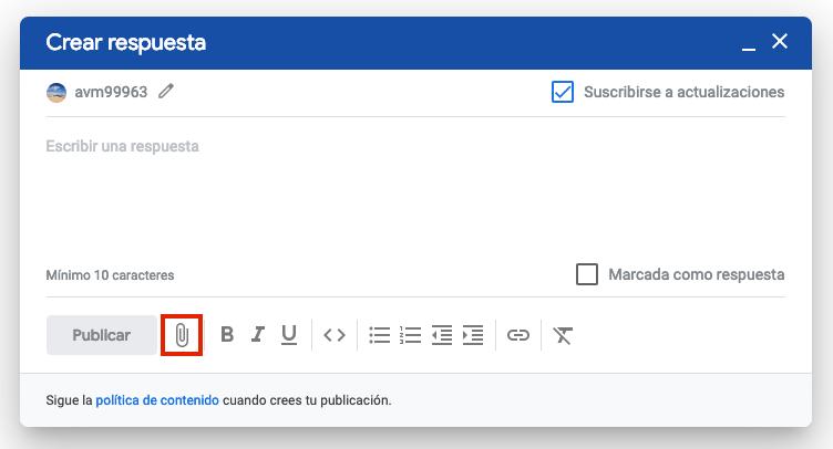 Captura de pantalla del editor de texto